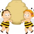 Bee Babies holding a Beehive — Stock Photo