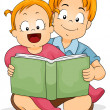 Baby Girl Reading a Book with Brother — Stock Photo