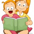 Baby Girl Reading Book with Sister — Stock Photo #20979731