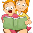 Baby Girl Reading a Book with Sister - Stock Photo