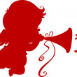 Silhouette Cupid with Trumpet — Stock Photo