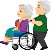Senior Couple with the Old Lady on the Wheelchair — Stock Photo