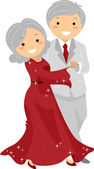 Senior Couple Ballroon Dancing Stickman — Stock Photo