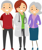 Senior Couple with their Doctor Stickman — Stock Photo