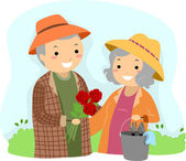 Senior Couple Gardening Stickman — Stock Photo
