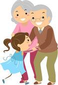 Grandparent Couples with Grandchild Stickman — Stock Photo