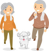 Senior Couple Walking their Dog Stickman — Stock Photo
