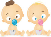 Babies with Pacifiers — Stockfoto