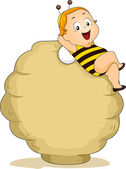 Baby Bee Boy with Beehive — Stock Photo