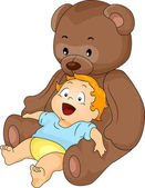 Baby Boy with Big Toy Bear — Stock Photo