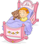 Baby Girl on Cradle — Stock Photo