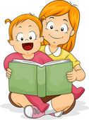 Baby Girl Reading a Book with Sister — Stock Photo