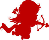 Silhouette Cupid with Bow and Arrow — Stock Photo
