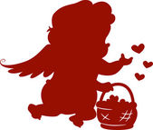 Silhouette Cupid with Basket — Stock Photo