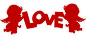 Cupidos silueta con la bandera de amor — Foto de Stock