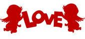 Cupids silhouette avec la bannière de l'amour — Photo