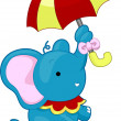 Circus Elephant with Umbrella - Photo