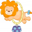 Circus Lion Jumping Through Hoop Sideview - Stock Photo