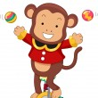 Circus Monkey Juggling on Monocycle — Stock Photo #20980195