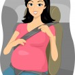 Pregnantn Girl Putting Seatbelt on — Stock Photo