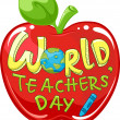 World Teachers' Day Apple — Stock Photo