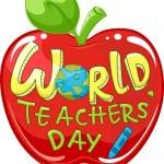World Teachers' Day Apple — Stock Photo