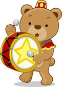Circus Bear Drummer — Stock Photo
