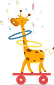 Circus Giraffe playing Hula Hoops — Stock Photo