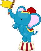 Elefante de circo con bandera — Foto de Stock