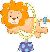 Circus Lion Jumping Through Hoop Sideview — Stock Photo