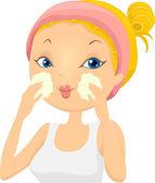 Girl Applying Facial Wash — Stock Photo