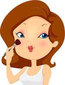 Girl Applying Blush Makeup on Cheeks — Stock Photo