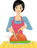 Girl Slicing Chicken — Stock Photo