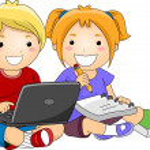 Kids using Laptop to Study — Stock Photo