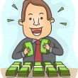 Businessman with Lots of Money — Stock Photo