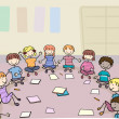 Preschoolers sitting in kindergarten — Stock Photo