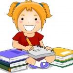 Kid Girl Writing — Stock Photo #23304150