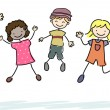 Jumping Stickman Kids — Stock Photo