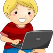 Boy with a Laptop — Stockfoto