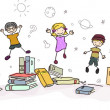Stickman Kids Jumping with Books — Stock Photo #23304602