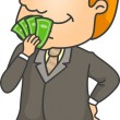 Businessman Smelling Money — Stock Photo