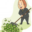 Businessman Raking Money — Stock Photo