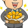 Businessman with Golden Eggs — Stock Photo