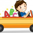 Boy Driving a Pencil Car with ABC - Stockfoto