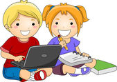 Kids using Laptop to Study — Stockfoto