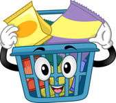 Shopping Basket Mascot with Snacks — Stock Photo