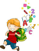 Boy Kid with a Backpack of ABC's and 123's — Stock Photo