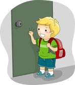 Boy Knocking on a Door — Stock Photo
