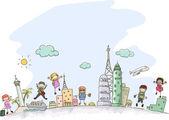 Travelling Stickman Kids — Stock Photo