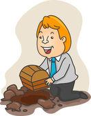 Businessman Burying a Treasure Chest — Stock Photo